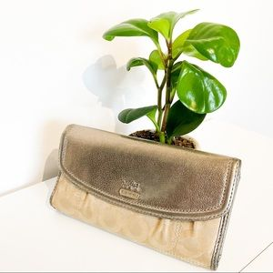 Light Gold Metallic COACH Wallet With Canvas